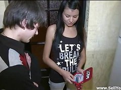 Pretty legal age teenager gal stands doggy fashion offering this stylish guy to fuck her cunt hard from the behind.