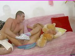 Brianna is home alone playing with her teddy bear when this sweetheart is lastly approached by her stud. This Guy goes down on her cookie and laps up each drop of her moist snatch and then this guy bonks her slit hole with a purple sex-toy. That Guy fingers her constricted little chocolate hole as this guy stretches the muscle. This Babe takes a double penetration of the sextoy and his fingers in her holes. BriannaтАЩs booty is priceless and constricted and heтАЩs doing his most good to stretch it for his dick as this chab fingers her and stretches her muscle. Then little Brianna takes him in her mouth as heтАЩs still trying to stretch her open for his shlong. That Guy copulates her cum-hole for several minutes and then starts the task of putting the tip of his rod her butt in as that sweetheart squirms. Lastly that sweetheart sucks him off on the couch as that guy cums in her mouth.
