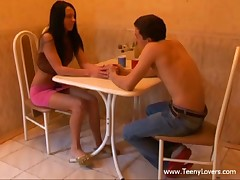 Those teenies' date was all so sweet romantic and stuff up to their first kiss. From then on the excitement took over and they just absolutely lost control virtually ripping off their clothing to have a fun oral sex on a table and fuck on a petite kitchen chair. Not comfy sufficiently? Who cares when a large youthful dick is so unfathomable in that narrow legal age teenager cum-hole and the beauty is about to cum hard when her horny boyfriend nails her from behind. Yeah baby!