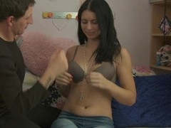 Sweet darling's wet muff acquires a lusty invasion from dude