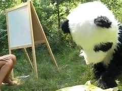 On a sunny summer day a pretty artist decided to go to the woods to paint a beautiful landscape picture. But her plans were ruined when this chick saw a huge panda bear coming near her. However, this chab turned out to be so cute and playful, the teenage hottie forgot about her painting and even let him take her raiment off. And then this chick saw panda's strap on penis, and there was solely bawdy sex on her mind. The angel widen her legs wide, letting the horny bear drill her oozing snatch with that awesome megadildo of his.