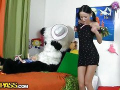 This pretty teenage chick was just playing with her toys and having fun, but suddenly this babe realized that her large panda bear wasn't really a toy. But don't u be scared, breasty teenage gal, that guy's not gonna harm u. All that guy wants is a little sex play. So why not try to have hawt sex with him, and moreover, panda's black megadildo looks really arousing. And guess what, panda bear knows so many sex poses, his shagging skills are truly impressive! This kinky sex clip is a must-watch if u're into fun porn...