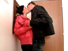 Brunette cute chick sucking and getting drilled by big penis