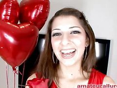 Gorgeous and energetic Abby blows dick and gets her face fucked solely to be bent over and get her fur pie pounded until this chick is satisfied then that chick gets a huge cum facial to go with her large smile.