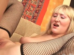 Blond slut sucks rod, gets her vagina railed and creampied!