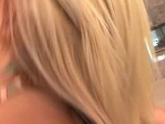 Bikini blond taking large wang